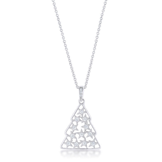 .2 ct CZ Rhodium Christmas Tree Pave Holiday Pendant