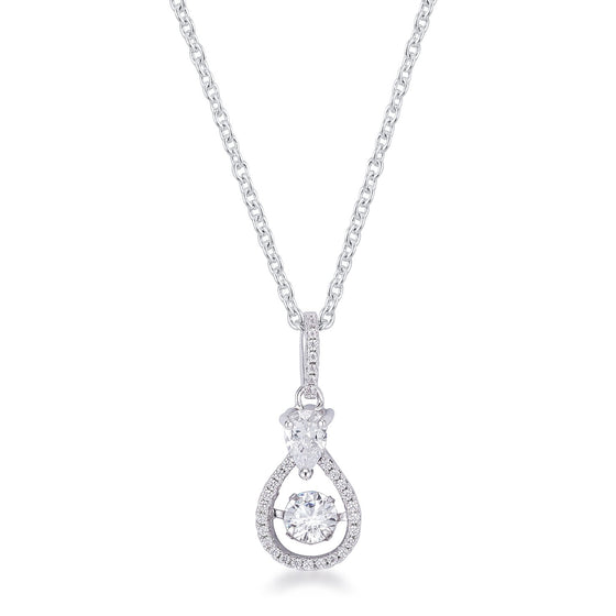 1.18Ct Dainty Rhodium Plated Micro Pave Teardrop Dancing CZ Pendant