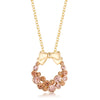 Goldtone Holiday Wreath Champagne Crystal Pendant