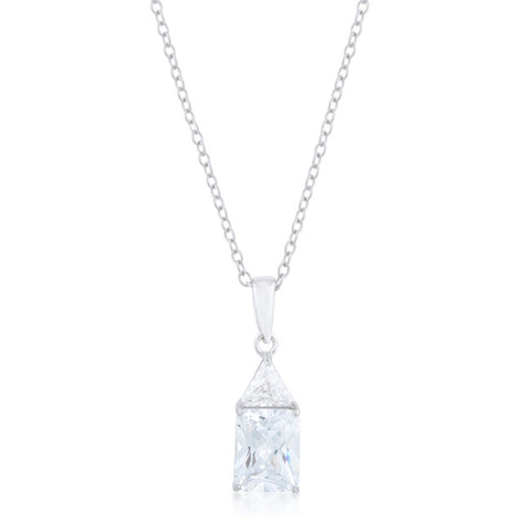 Classic Cubic Zirconia Sterling Silver Drop Necklace
