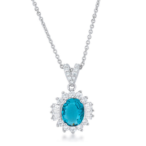 Chrisalee 3.2ct Aqua CZ White Gold Rhodium Classic Drop Necklace