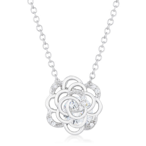 Maya 1.37ct CZ Rhodium Rose Drop Necklace