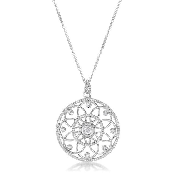 1.4 Ct Rhodium Pendant Necklace with Interlocking Circles and Cubic Zirconia