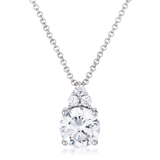 Simple Rhodium Plated 9mm Clear CZ Pendant