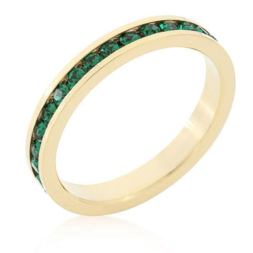Tessa 3.5ct Emerald Crystal 14k Gold Eternity Band