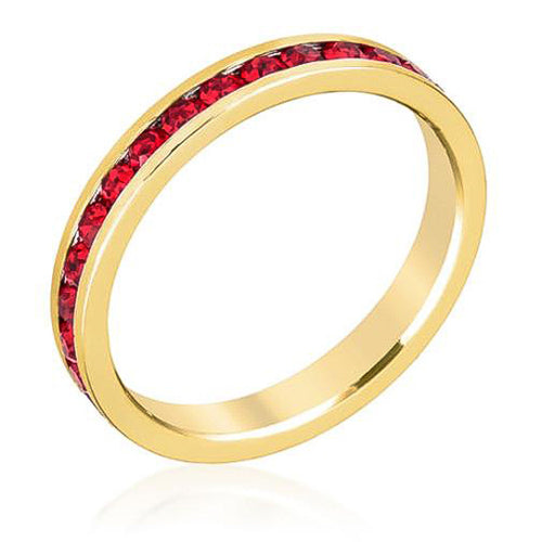 Tessa 3.5ct Ruby Crystal 14k Gold Eternity Band
