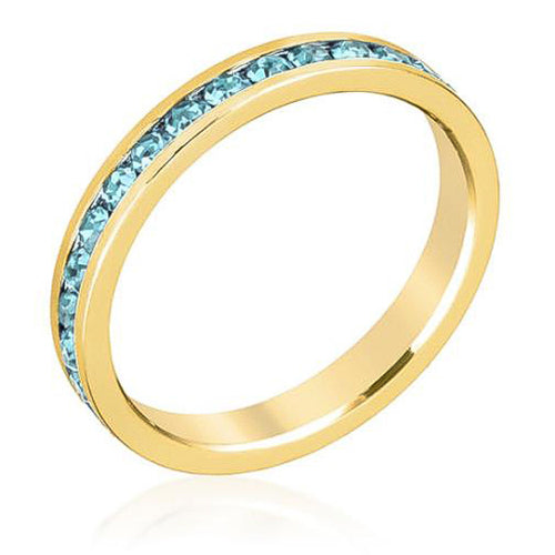 Tessa 3.5ct Aqua Crystal 14k Gold Eternity Band