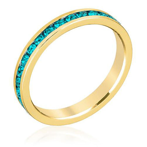 Tessa 3.5ct Turquoise Crystal 14k Gold Eternity Band