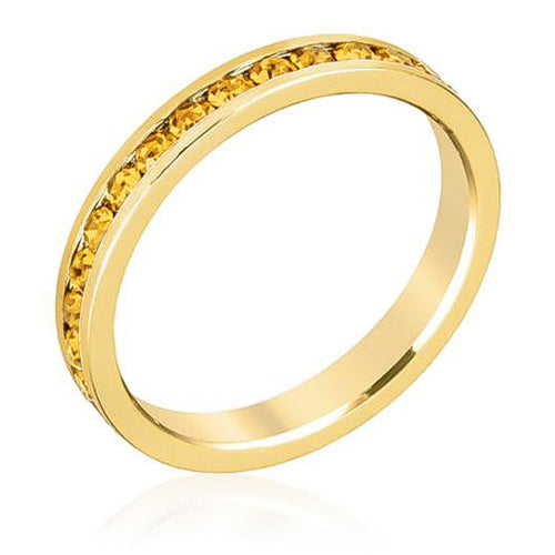 Tessa 3.5ct Canary Yellow Crystal 14k Gold Eternity Band