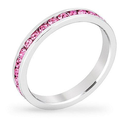 Tessa 3.5ct Pink Crystal White Gold Rhodium Eternity Band