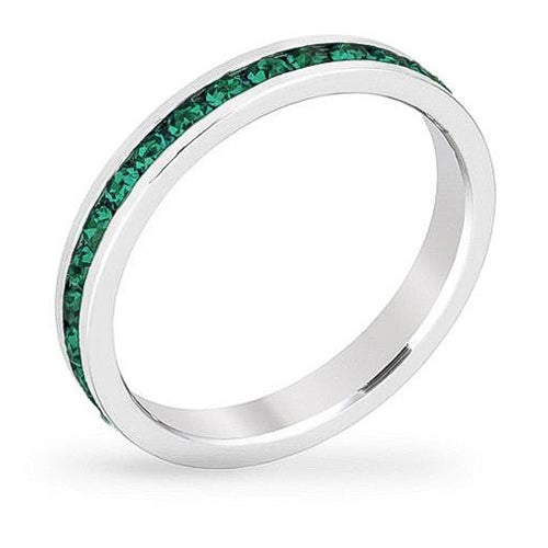 Tessa 3.5ct Crystal Emerald White Gold Rhodium Eternity Band