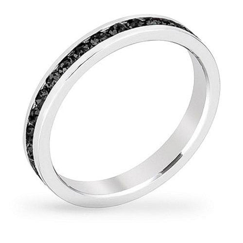 Tessa 3.5ct Crystal Jet Black White Gold Rhodium Eternity Band