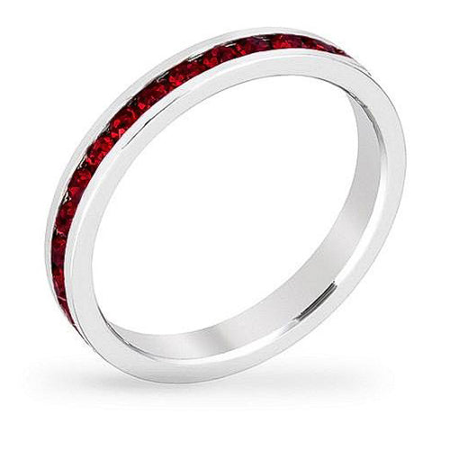 Tessa 3.5ct Crystal Ruby White Gold Rhodium Eternity Band