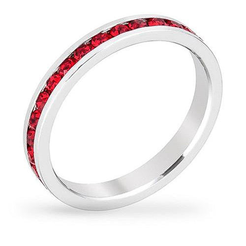 Tessa 3.5ct Crystal Garnet White Gold Rhodium Eternity Band