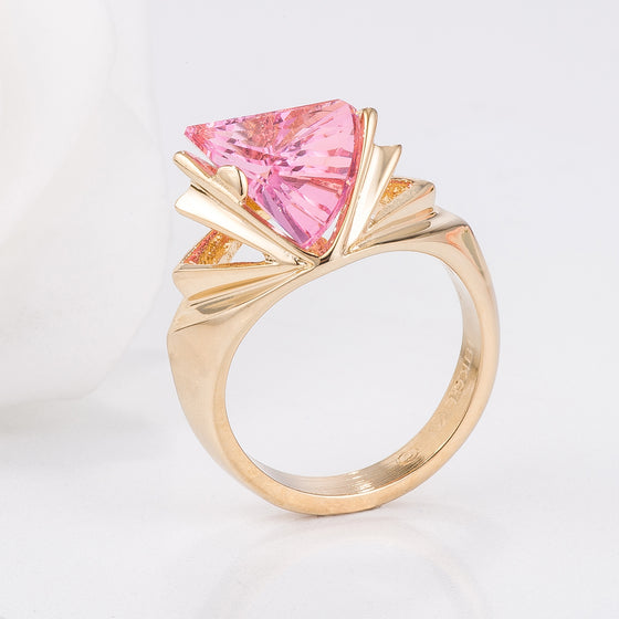 Goldtone Abstract Pink Cocktail Ring