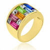 Glinda 9ct Multicolor CZ 14k Gold Ring