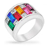 Glinda 9ct Multicolor CZ White Gold Rhodium Fashion Ring