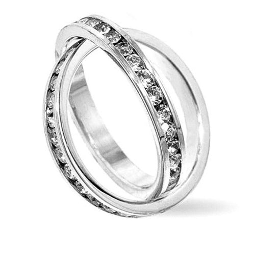 Christina 0.6ct CZ White Gold Rhodium Double Band Ring