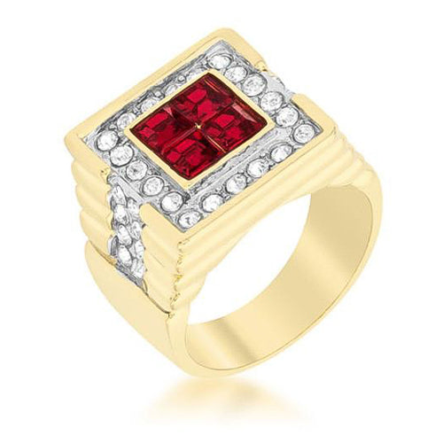 2.9ct CZ 18k Gold Ruby Square Men's Ring