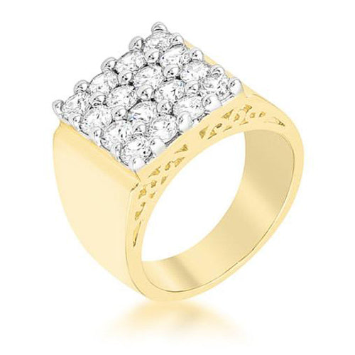 3.8ct CZ Two-Tone Pave Square Men's Ring