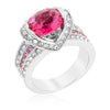 Arianna 1.5ct Ruby CZ White Gold Rhodium Cocktail Ring