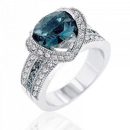 Arianna 1.5ct Sapphire CZ White Gold Rhodium Cocktail Ring