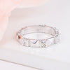 Silvertone Geometric Crystal Wide Eternity Band
