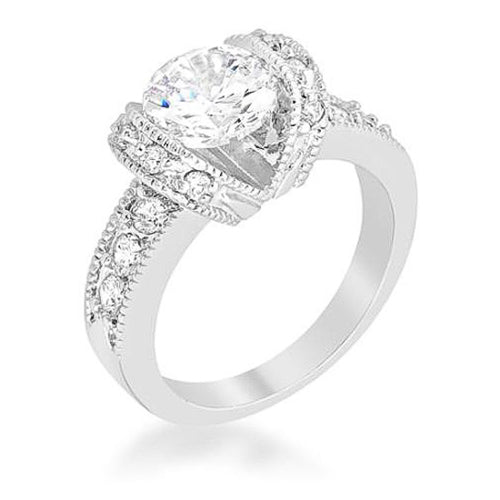 Tia 3.4ct CZ White Gold Rhodium Tension Engagement Ring