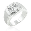 2.4ct CZ White Gold Rhodium Men's Ring
