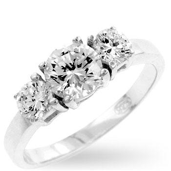 Clara 1.5ct CZ Sterling Silver Classic Triplet Bridal Ring Band