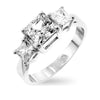 Paula 1ct CZ Princess Cut Triplet Sterling Silver Anniversary Ring