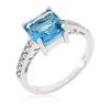 Penelope 2.1ct Aqua CZ White Gold Rhodium Ring