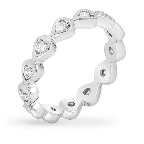 Hannah 3ct CZ White Gold Rhodium Heart Eternity Ring