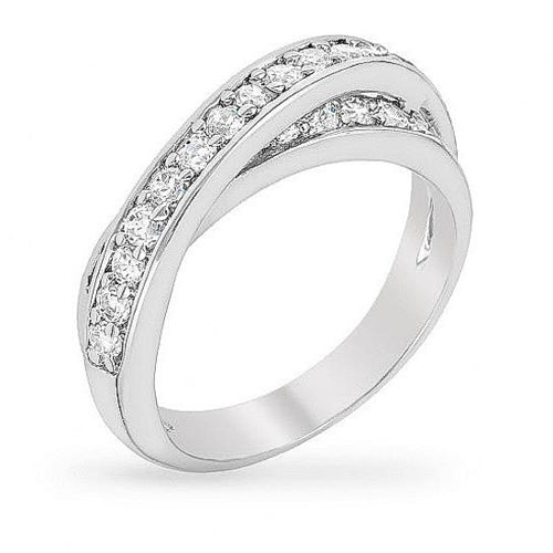 Bree 1.8ct CZ White Gold Rhodium Intertwine Ring