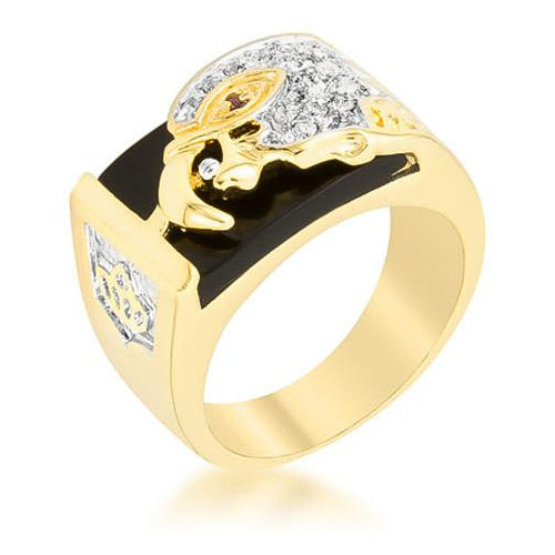 0.2ct CZ 18k Gold Onyx Eagle Men's Ring