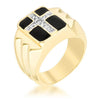 0.1ct CZ 18k Gold Faceted Cross Men's Ring