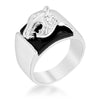 0.1ct CZ White Gold Rhodium Onyx Panther Men's Ring