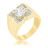 3ct CZ 18k Gold Regal Men's Ring