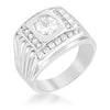 1.8ct CZ White Gold Rhodium Men's Square Ring