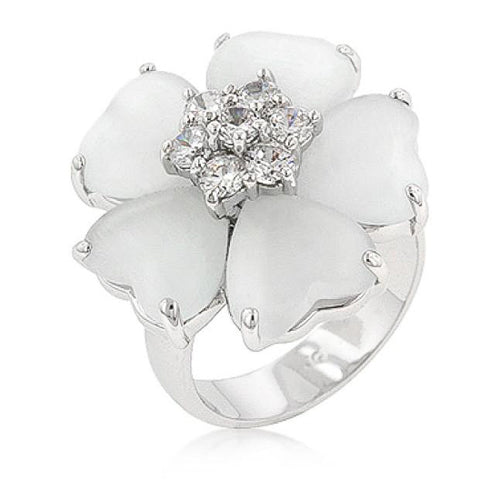 Cleo 1.4ct CZ White Gold Rhodium Cat's Eye Floral Nouveau Ring