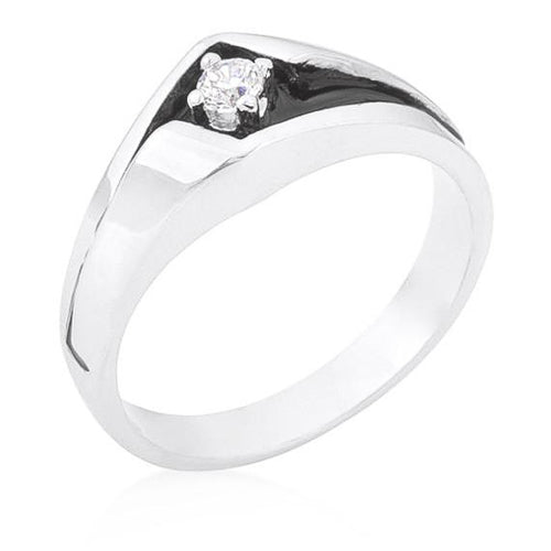 0.2ct CZ White Gold Rhodium Sleek Men's Ring