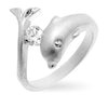 Tina 0.3ct CZ White Gold Rhodium Dolphin Ring