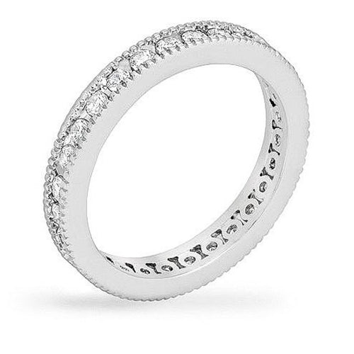 Vanessa 1.5ct CZ White Gold Rhodium Eternity Band
