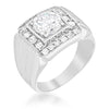 4.3ct CZ White Gold Rhodium Men's Square Ring