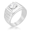 1.3ct CZ White Gold Rhodium Men's Ring
