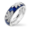 Nina 0.2ct CZ Navy Blue Enamel Leaf Band Ring