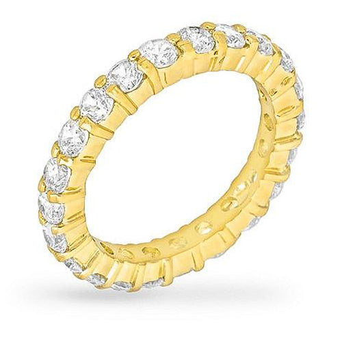 Caroline 4.1ct CZ 14k Gold Classic Eternity Band