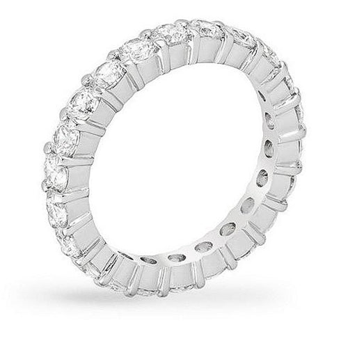 Caroline 4.1ct CZ White Gold Rhodium Classic Eternity Band