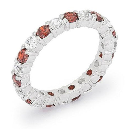 Caroline 4.1ct Ruby CZ Sterling Silver Classic Eternity Band