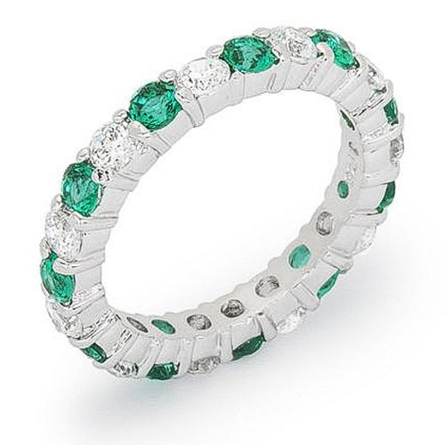 Caroline 4.1ct Emerald CZ Sterling Silver Classic Eternity Band